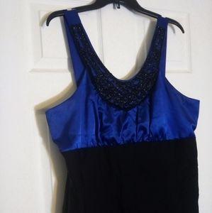 Torrid Black & Blue Beaded Neckline Bodycon Dress